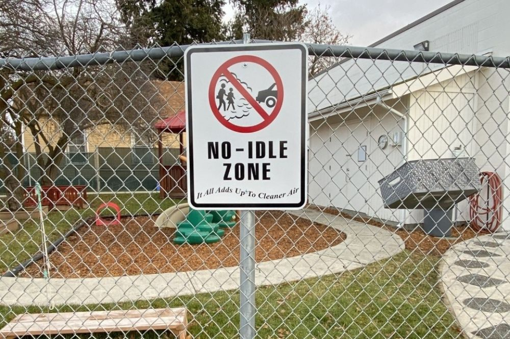 No-Idle Zone sign displayed at Spokane Community Colleges preschool.