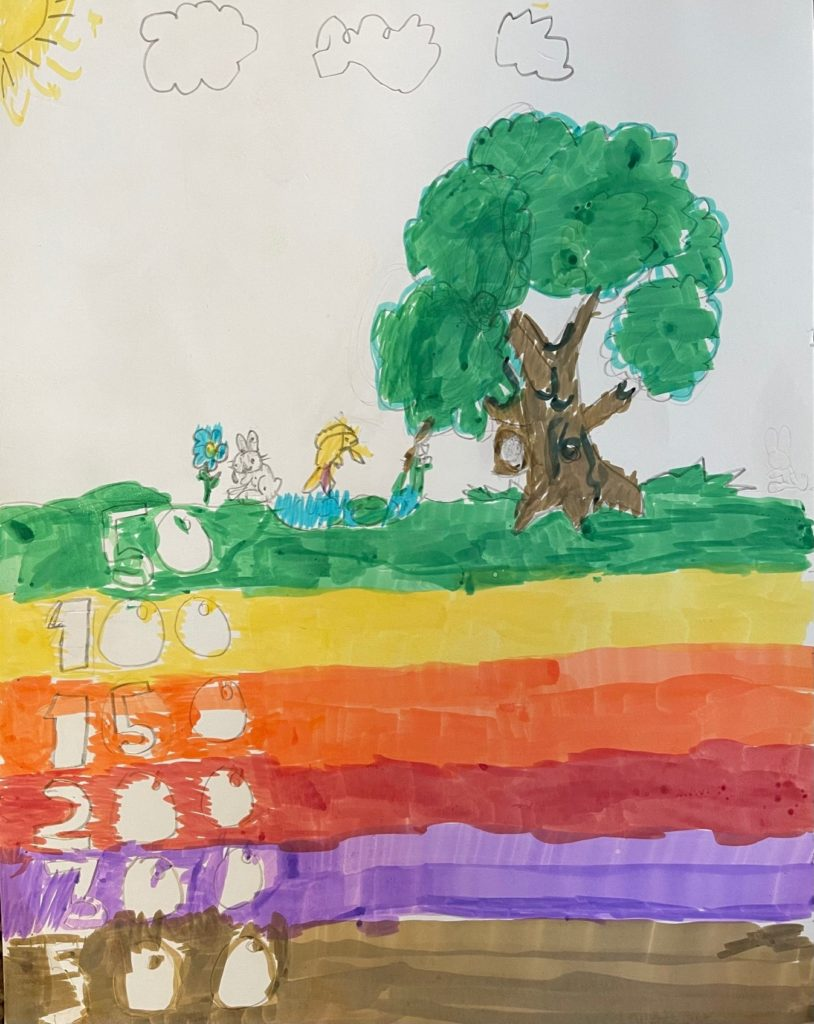 Kids drawing of a tree and the air quality index