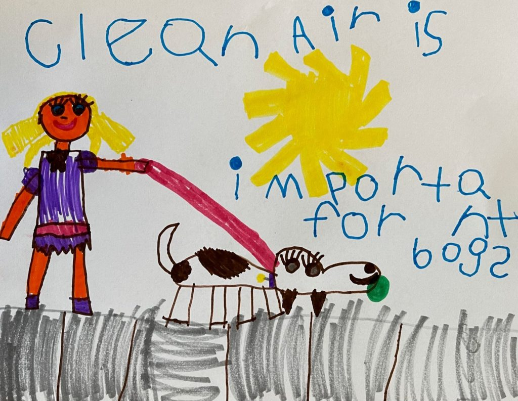 Kids drawing of a girl walking a dog